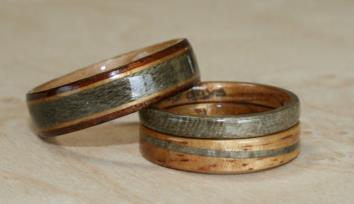 Hawaiian Koa wood and Greyed Maple Wood Wedding and Engagement set. Touch Wood Rings