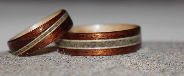 Koa Wood Engagement Ring With Birch And Zebra Inlays