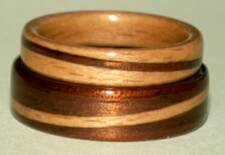 Dark koa wood and beech wood rings