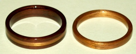 Rosewood and golden koa wood rings