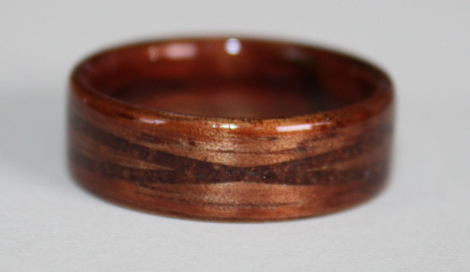 Hawaiian Koa wood ring with offset bands