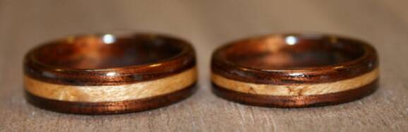 Dark Hawaiian Koa Wood Rings with inlays of birds eye maple