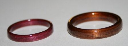 Purpleheart wood ring and Classic Koa Touch Wood Rings