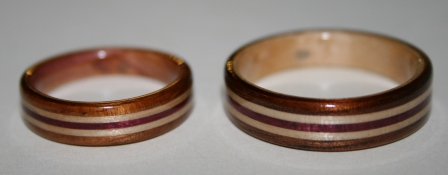 Wooden rings with inlaid bands