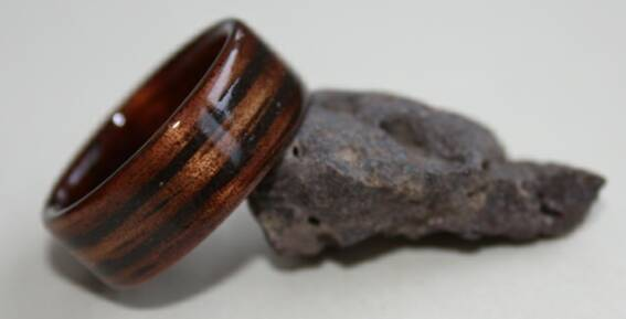Hawaiian Koa ring with two inlaid bands of Lava Rock
