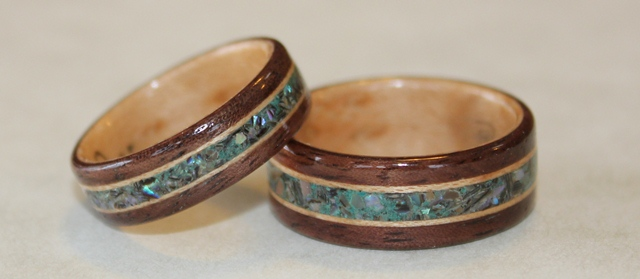 Walnut wood rings with Birds eye Maple liners. Inlaid with Paua Shell and  Eilat stone