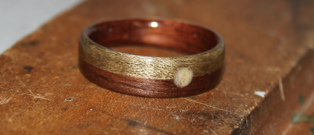 Man's Touch Wood Ring.  Walnut wood with Greyed Maple and a full moon inlay on split ring design