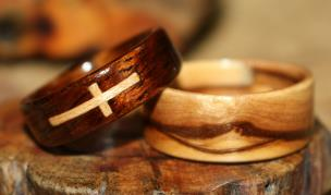 Dark Koa Wood Ring with inlaid Maple Cross