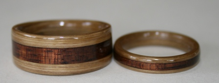 Bamboo rings with Koa inlays   Gallery Y