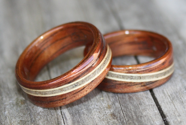 Hawaiian Koa wood rings inlaid with Juniper and Jenn and Darci's Sand . . .