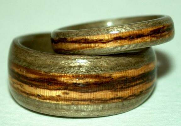 Greyed Maple & Zebra Wood Rings 1