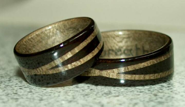Hawaiian Koa Wood Ring with wide Zebra wood band ~ Hopi Bowl design