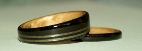 tapered wood ring with inlaid bands