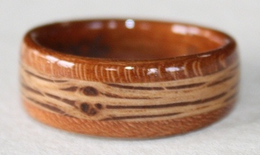 touch wood rings gently tapered cherry wood ring with an inlay of oak wood - Wood Wedding Ring