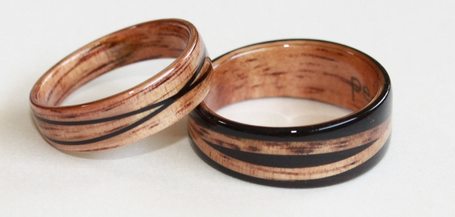 crossed spiral designs with golden hawaiian koa and african blackwood - Wood Wedding Ring