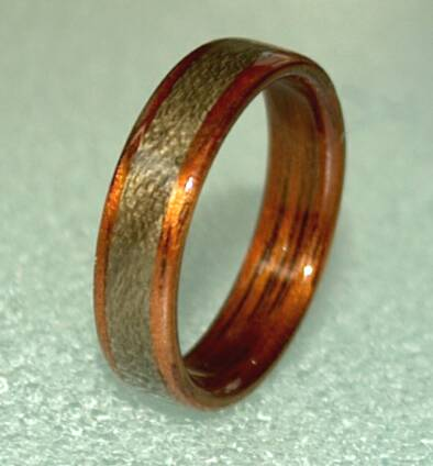 Hawaiian Koa wood ring with greyed maple band