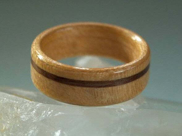 birch wood ring with walnut band