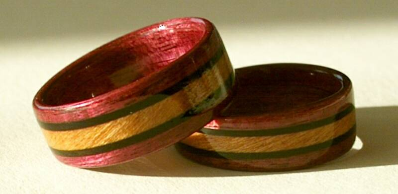 Custom hand made Wood Rings from Touch Wood Rings