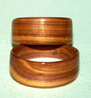 click for larger photo, heartwood wedding rings