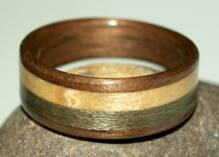 Walnut wood ring with maple and grayed maple inlays view 2