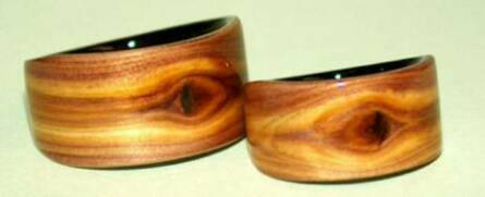 Juniper heart wood rings with black wood liners