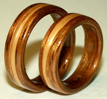 Koa and Oak Wood Pinkie RIngs