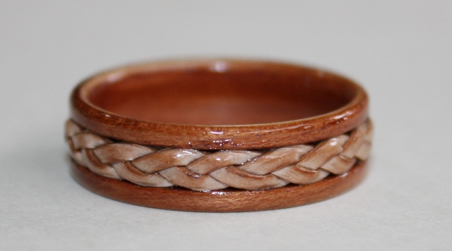 Braided Birch Bark inlaid on a Magnolia Wood Ring, Touch Wood Rings