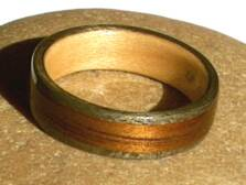 Man's Wooden Ring, maple wood liner  view 2