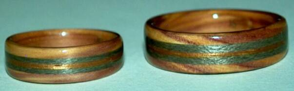 juniper heart wood wedding rings with 3 inlaid bands
