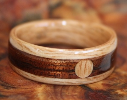 Tapered Oak Wood Ring with an Oak Full Moon on a Hawaiian Koa Inlay