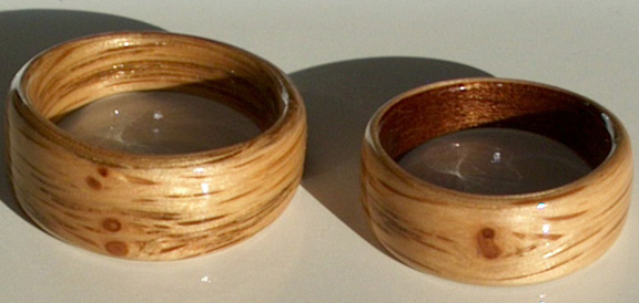 Oak Wood Wedding Rings and a cherry liner