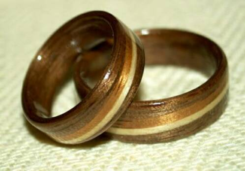 Black Walnut Wood rings by Touch Wood Rings