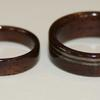 BLACK WALNUT rings with offset greyed maple inlays on wider ring.