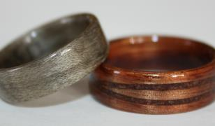 Hawaiian Koa wood rings with inlaid bands from Touch Wood Rings