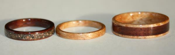 Wooden Engagement and Wedding ring set incorporating Black Walnut Wood, Birds eye Maple and Pink Granite from Touch Wood Rings