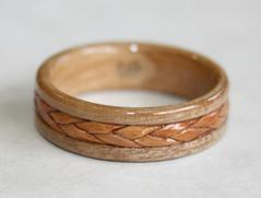 Braided Birch Bark inlaid on an Apple Wood Ring, Touch Wood Rings