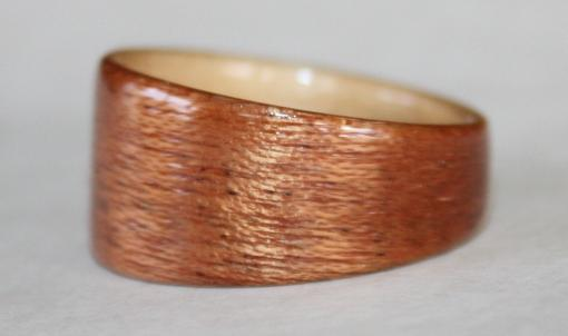 Mahogany Wood Ring with Birch Wood Interior
