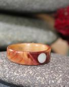 Touch Wood Rings, Juniper heartwood ring with birch liner and an Opal full moon inlay
