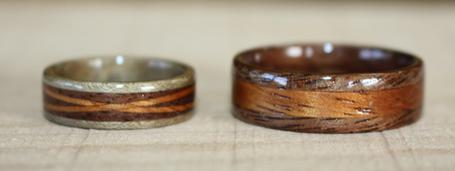 Black Walnut, Greyed Maple and Hawaiian Koa wood rings. Touch Wood Rings