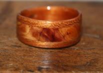 Touch Wood Rings. Cherry with Juniper heartwood inlay.