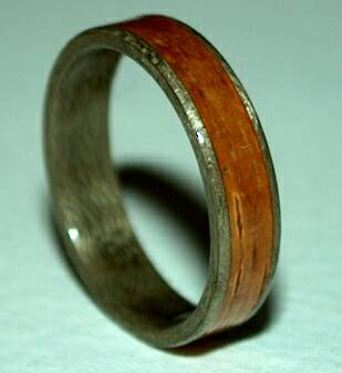 Greyed Maple Wood Ring with birch bark band