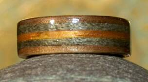 another view Black Walnut Wooden Ring with Greyed maple and Koa Bands