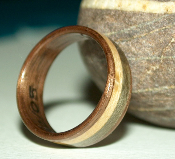 Walnut wood ring with maple and grayed maple inlays view 3